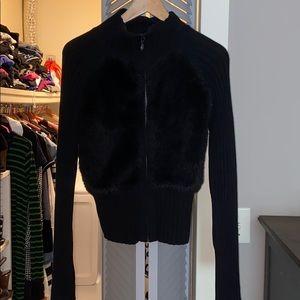 Bebe black sweater .zipper and faux fur . Size M